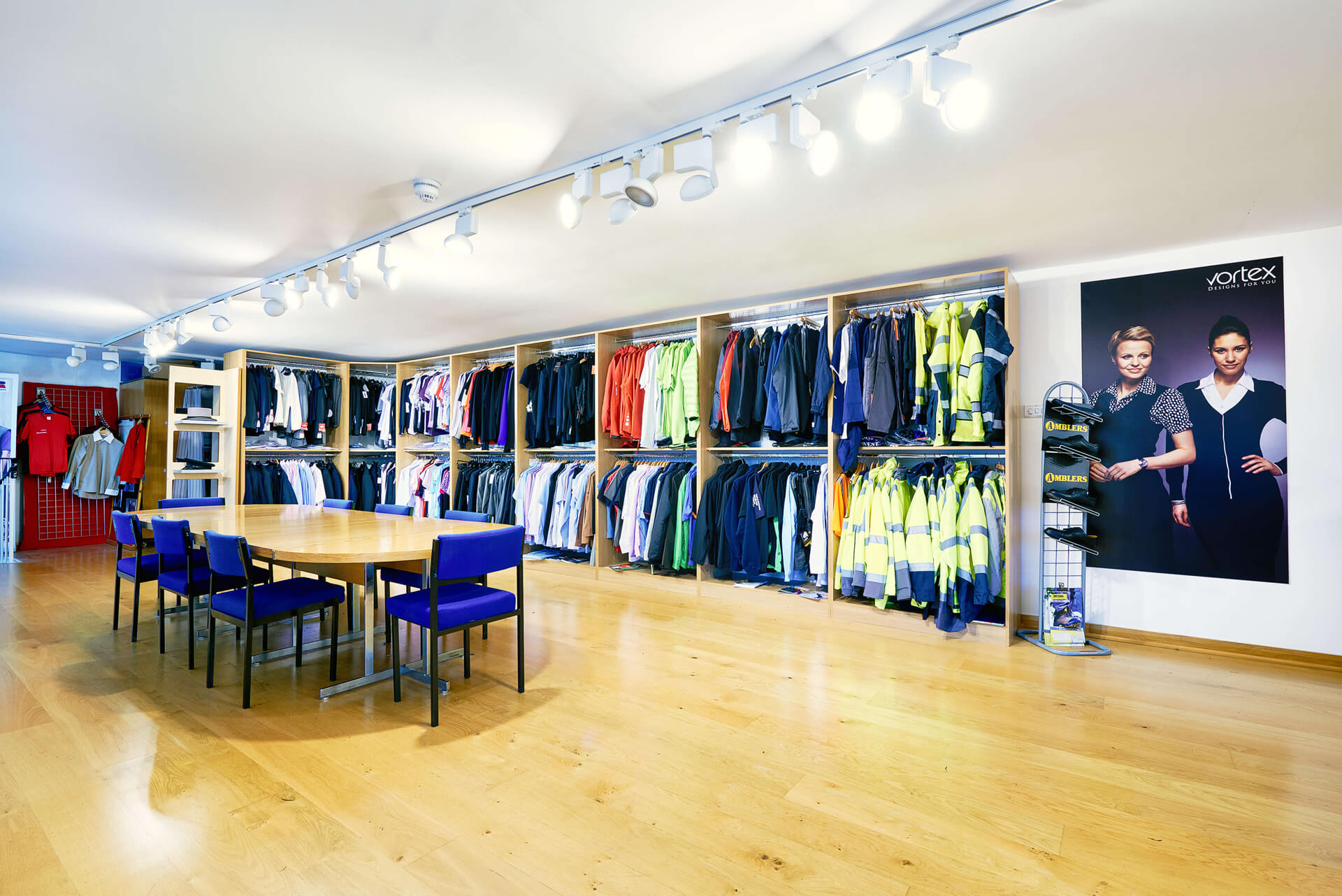 corprotex manchester showroom, displaying corporate clothing and workwear
