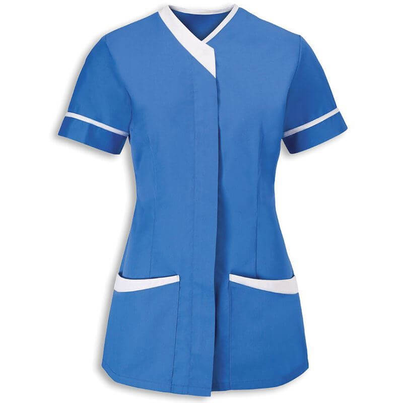 Corprotex healthcare tunic, blue and white