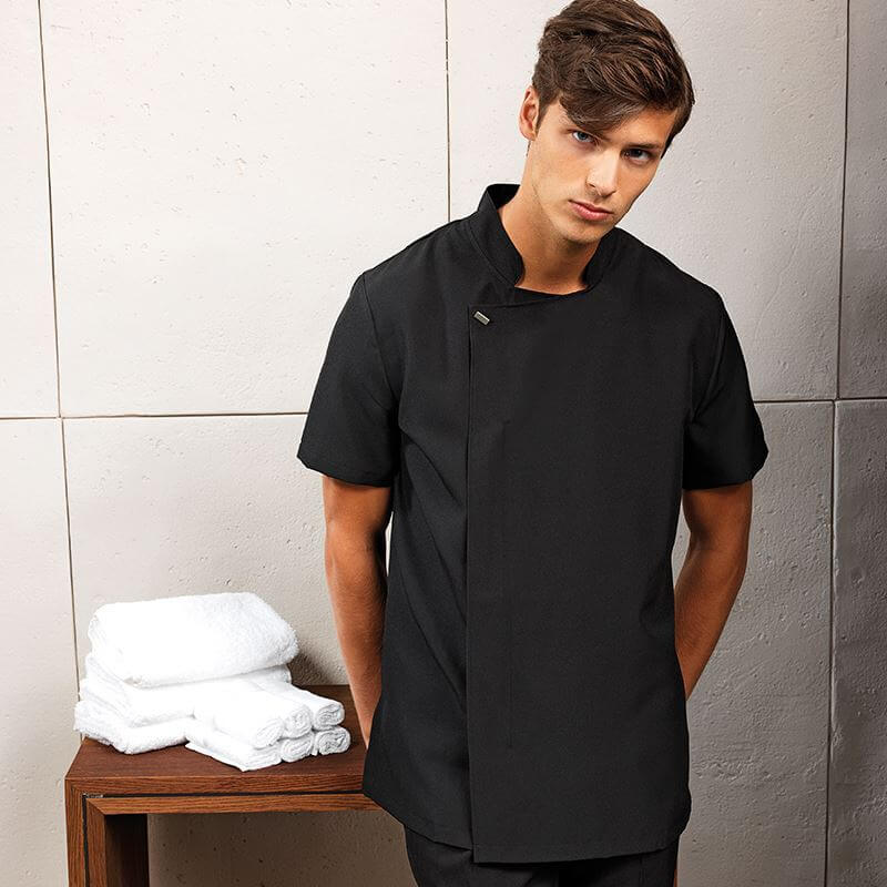 corprotex men's spa uniform in black, worn by man
