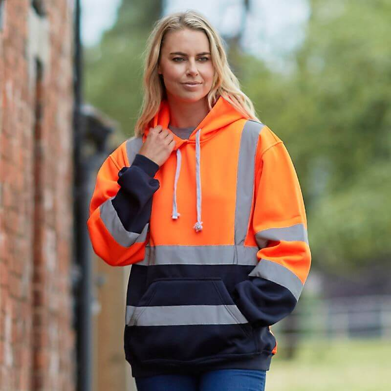 ladies ppe workwear - woman in hi vis hoody