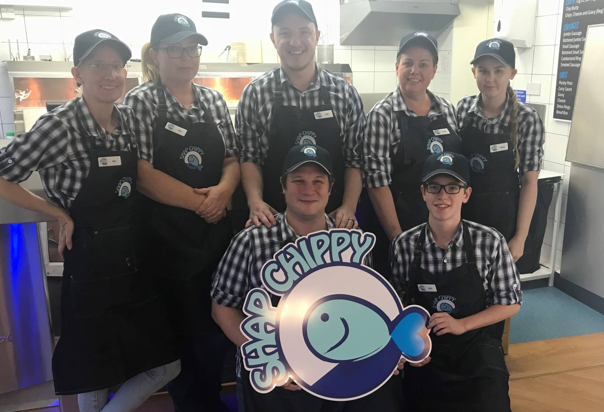 Shap Chippy Staff Uniforms: Group Photo